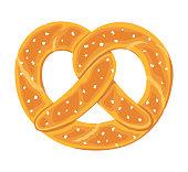 Traditional german salty pretzel. Twisted bread with salt. Vector hand drawn illustration.