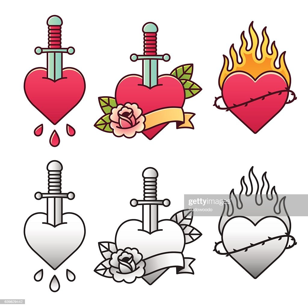 Traditional heart tattoo set