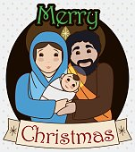 Traditional Holy Family with Greeting Christmas Message