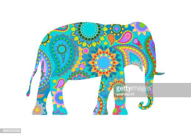 traditionelle indische elefant - thailand stock-grafiken, -clipart, -cartoons und -symbole