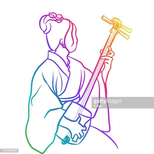 ilustrações de stock, clip art, desenhos animados e ícones de traditional japanese shamisen rainbow - vangen