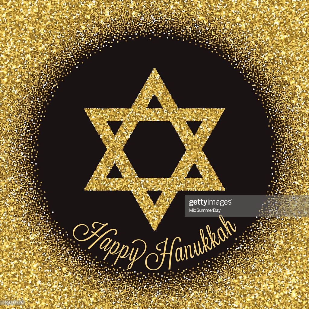 Traditional Jewish Symbol Happy Hanukkah Greeting Card Vector Art