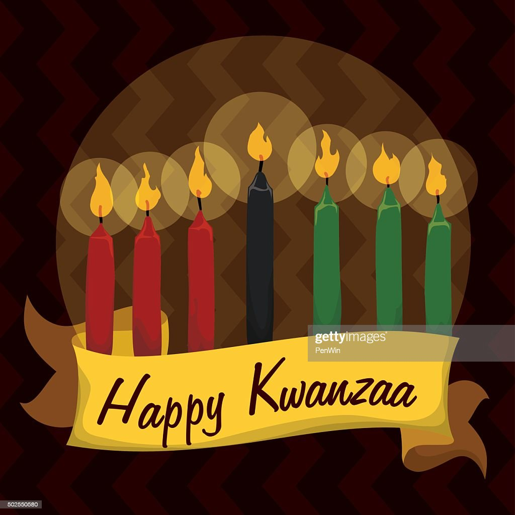 Traditional Kwanzaa Candles in Tribal Background