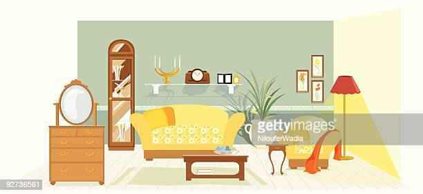traditional living room - house interior stock illustrations, clip art, cartoons, & icons