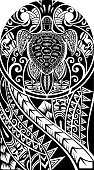 Traditional Maori tattoo design with turtle