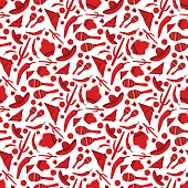 Traditional Mexican attributes seamless pattern