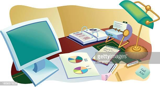 traditional office desk - rolodex stock illustrations, clip art, cartoons, & icons