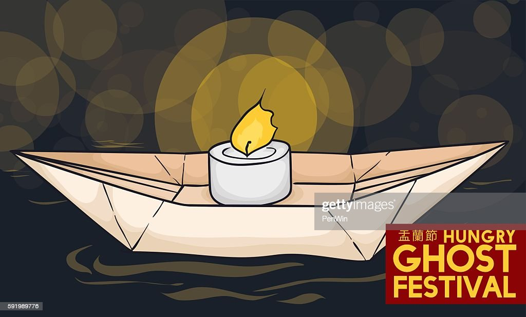 Traditional Paper Boat for Ghost Festival Celebration