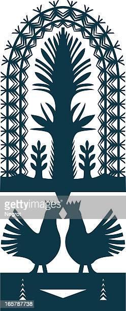 traditional polish paper-cut folk art. - folk music stock illustrations