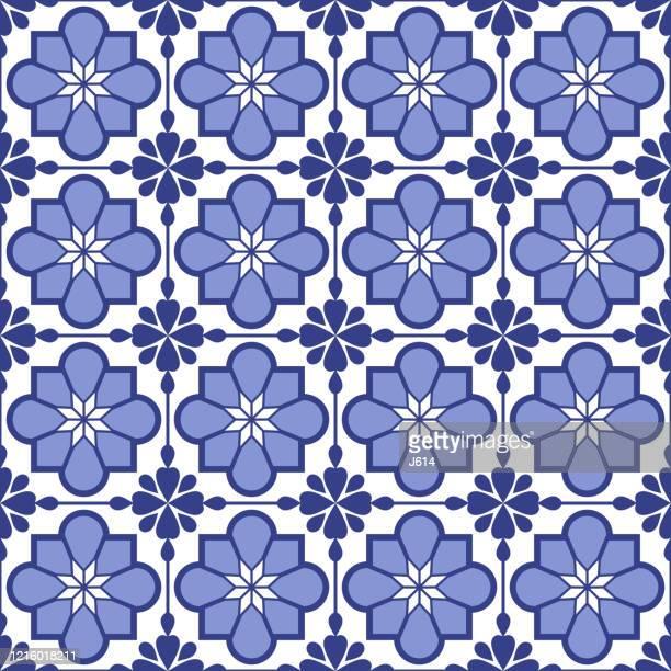 ilustrações de stock, clip art, desenhos animados e ícones de traditional portuguese tile seamless pattern - formação rochosa