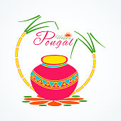 Traditional pot with sugarcane for Happy Pongal festival celebration.
