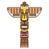Traditional Religious Totem Pole with Animal. Vector