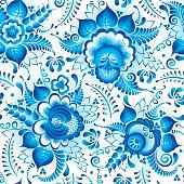 Traditional russian gzhel seamless pattern