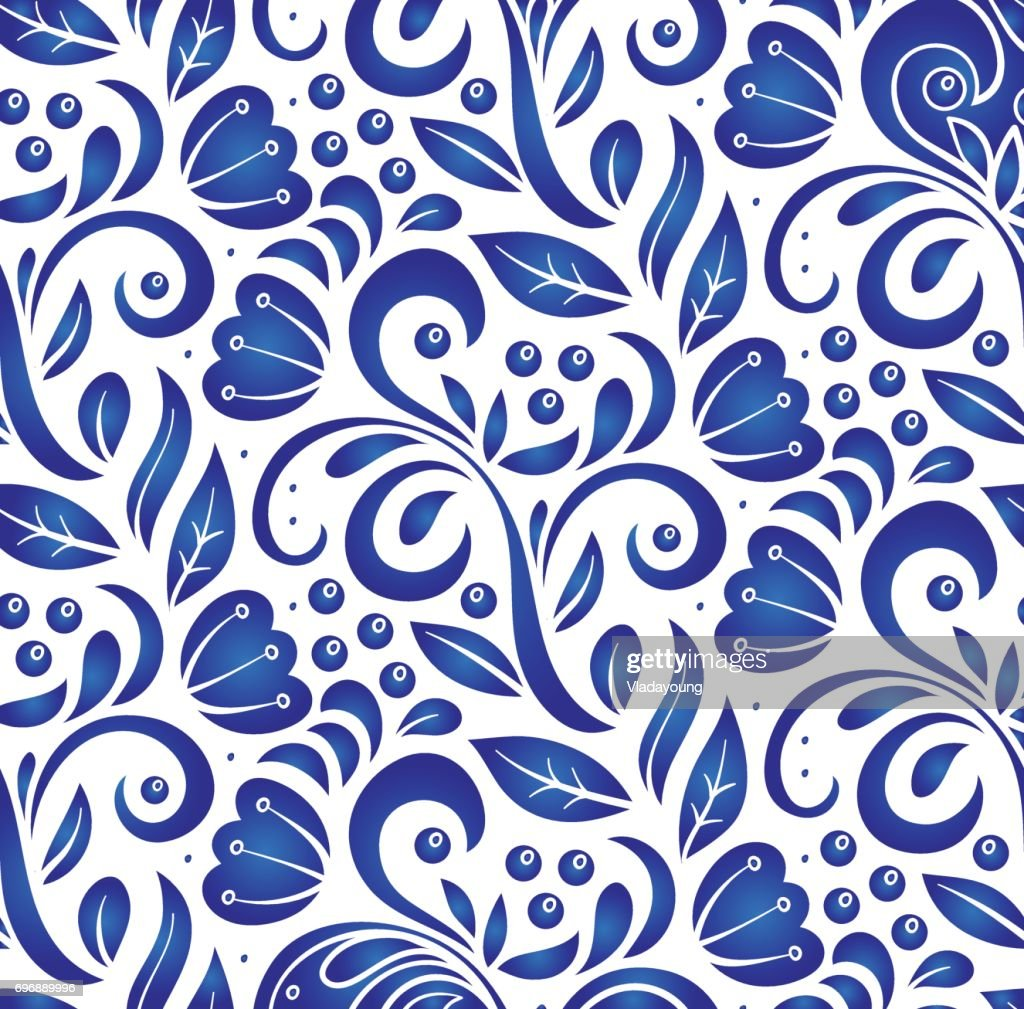 Traditional Russian vector seamless pattern in gzhel style. Can be used for banner, card, invitation, label, menu etc.