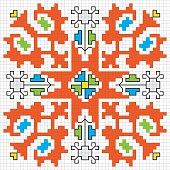 Traditional Slavic embroidery motif. Vector scheme.