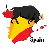 Traditional spainish corrida. Bull on background flag and map of Spain