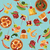 Traditional spanish food. Selection of tapas. Seamless background pattern.