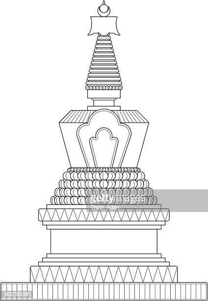 Traditional stupa (Construction / Line drawing)