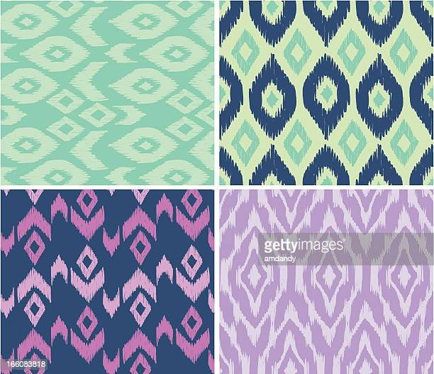 ikat traditional style - textile industry stock illustrations