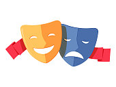 Traditional theater symbol, comedy and tragedy masks with red ribbon. Yellow happy and blue sad mask icon