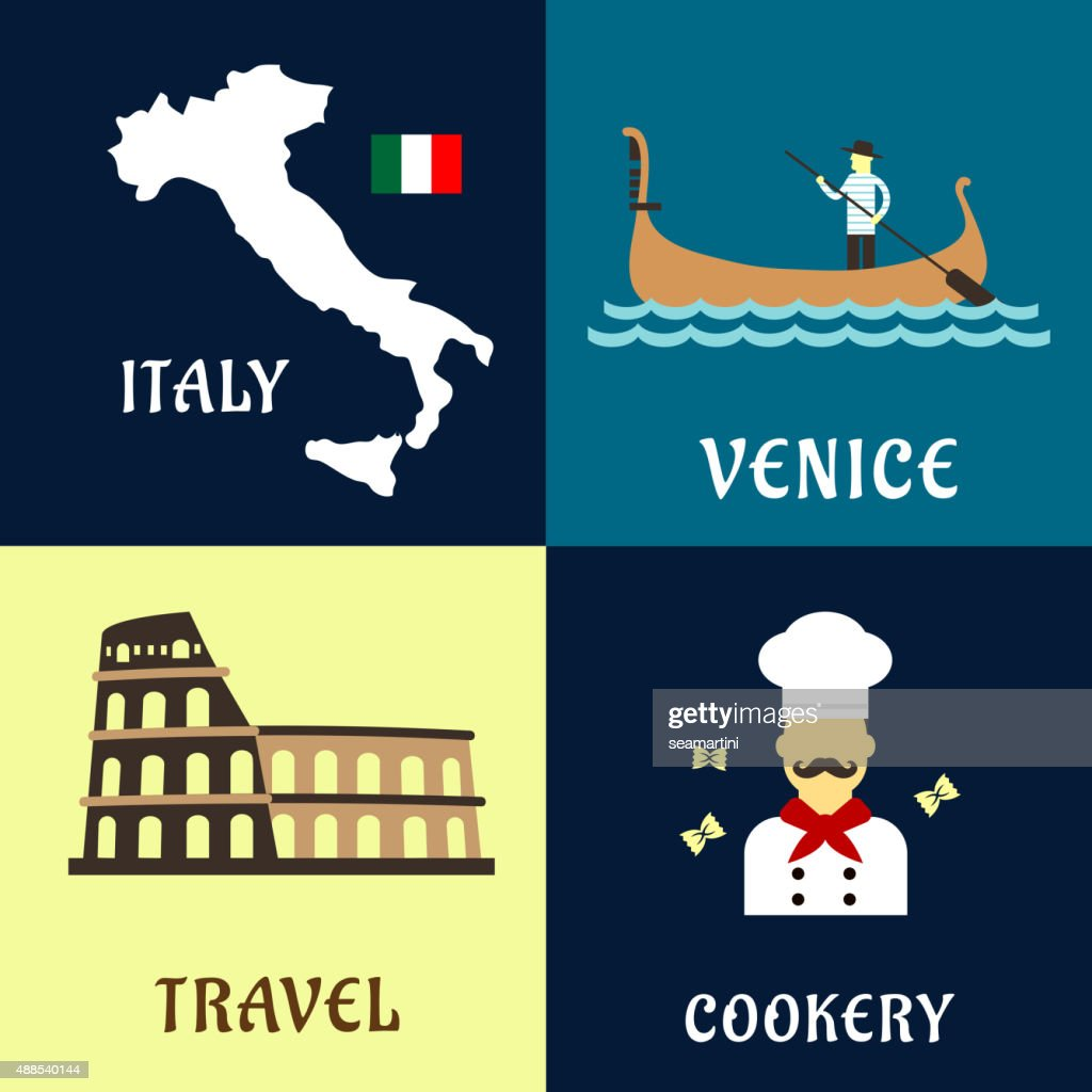 Traditional travel italian flat icons