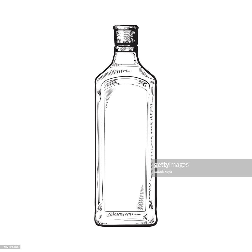 Traditional unlabeled, unopened blue gin glass bottle, sketch vector illustration