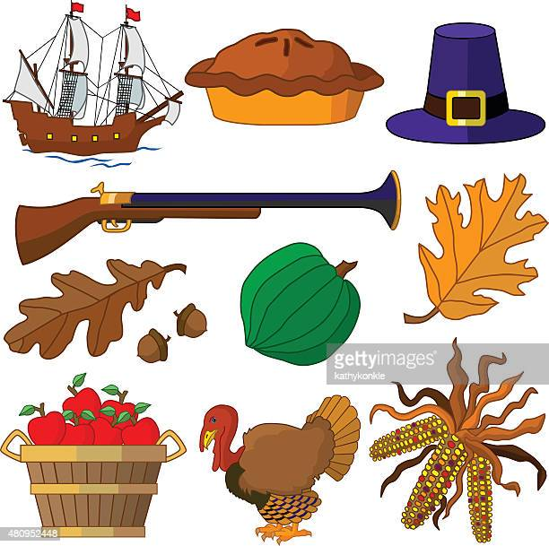 traditional vector Thanksgiving icons in color