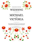 Traditional wedding invite card template vector. Floral ornaments save the date design