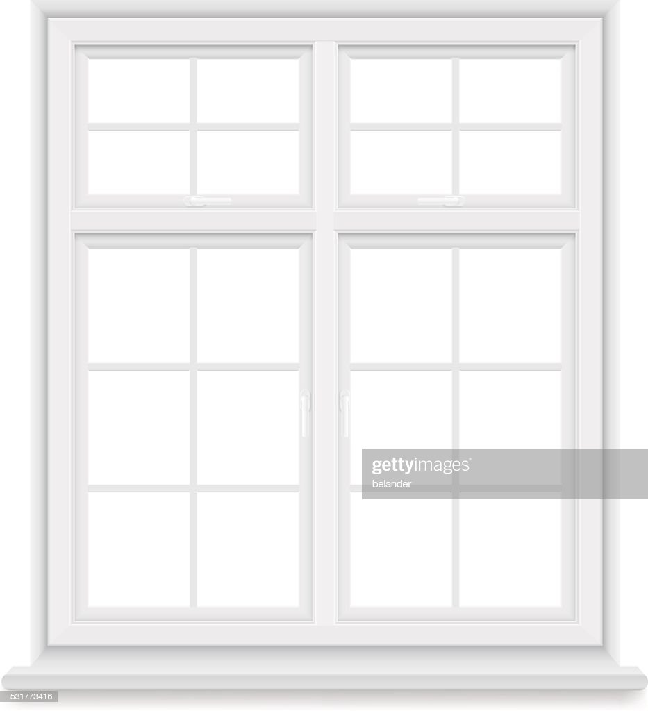 traditional white window isolated