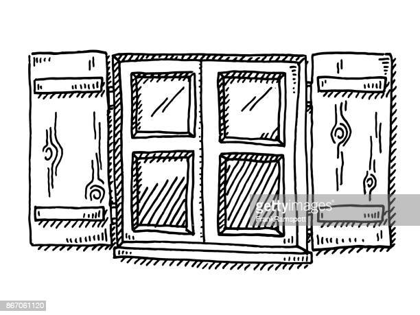 ilustraciones, imágenes clip art, dibujos animados e iconos de stock de ventana tradicional de un dibujo de la casa bávara - ventana