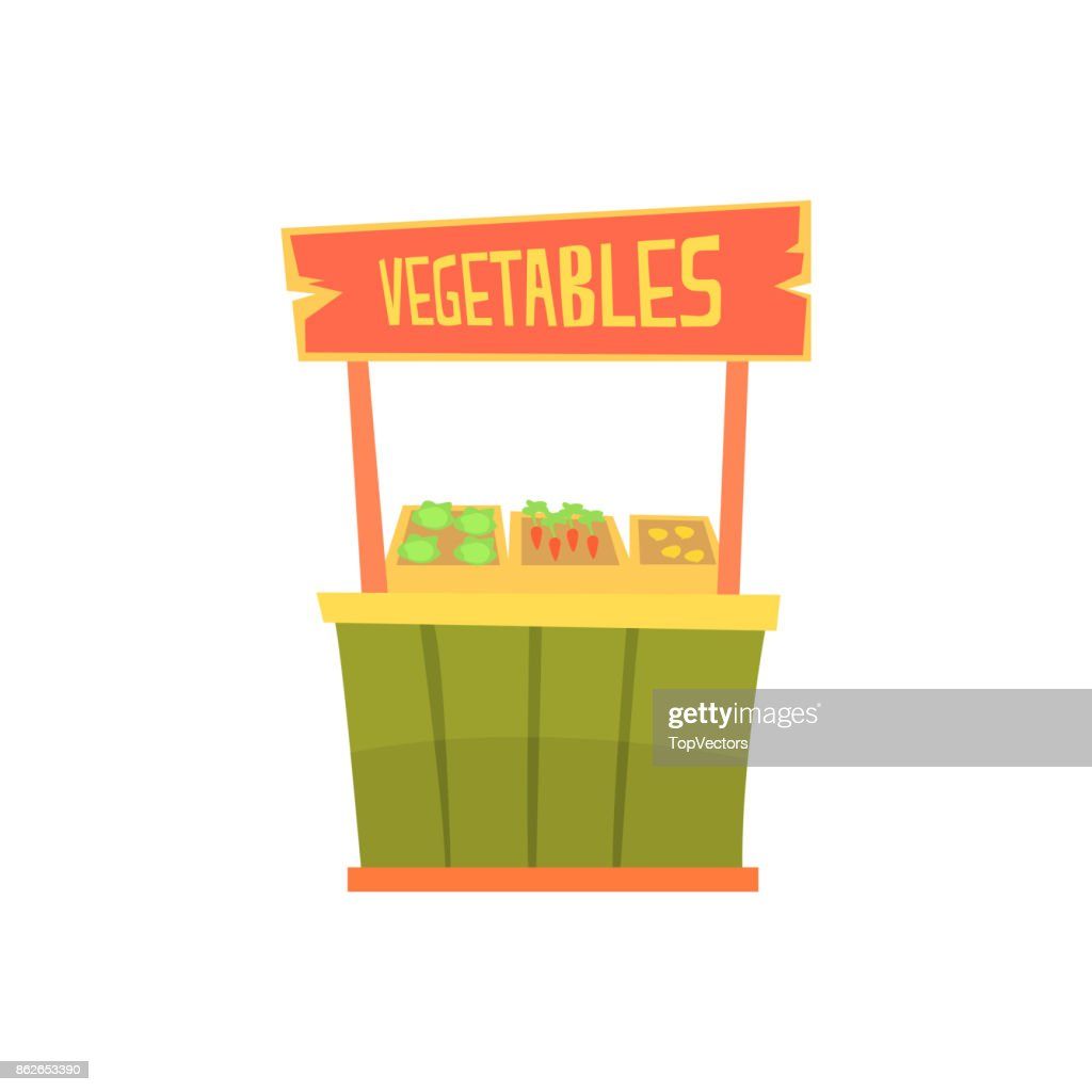Traditional wooden kiosk with vegetables, fixed market stall for external usage cartoon vector Illustration