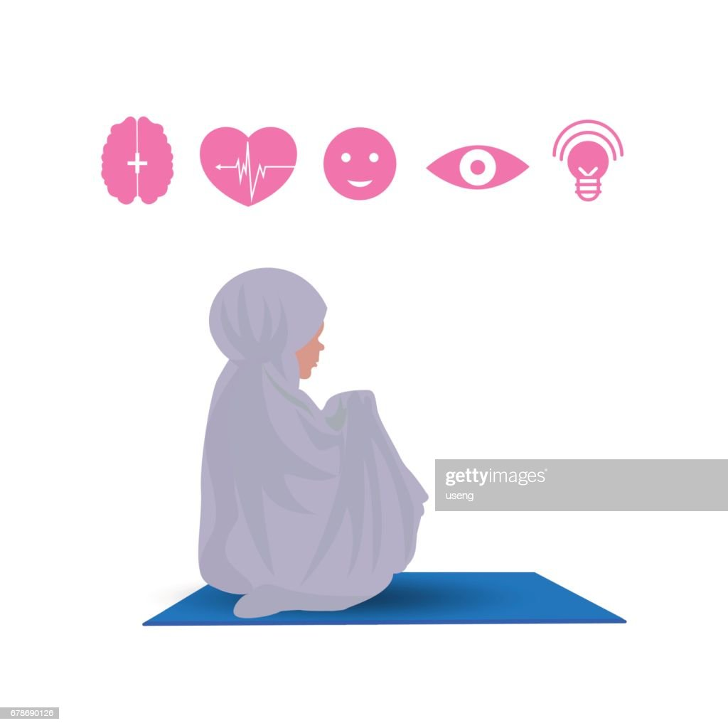 Traditionally clothed muslim woman making a supplication (salah) while sit down on a praying with icon. illustration.