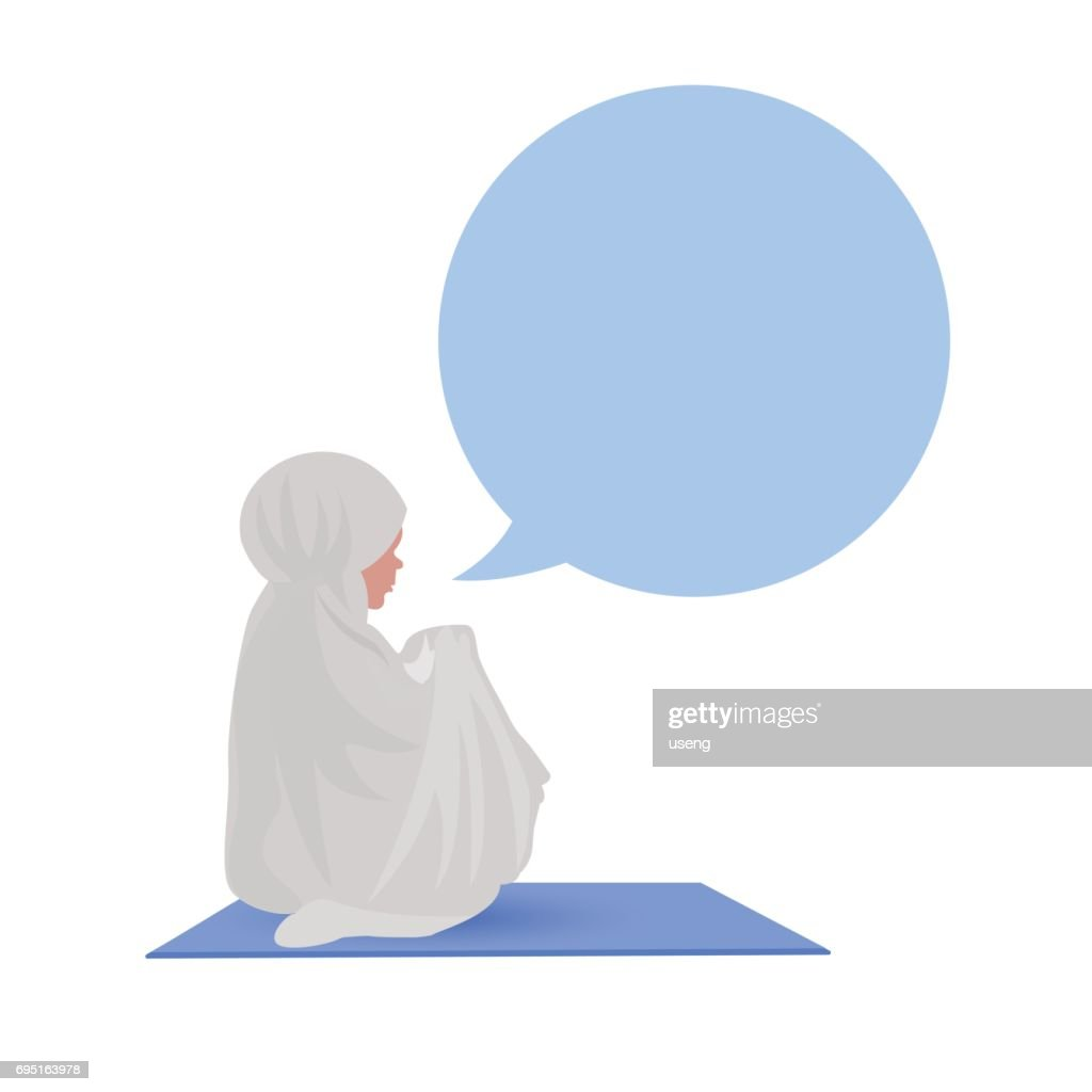 Traditionally clothed muslim woman making a supplication (salah) while sit down on a praying. illustration.