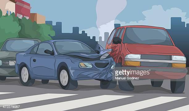ilustrações de stock, clip art, desenhos animados e ícones de acidente de trânsito - acidente de carro