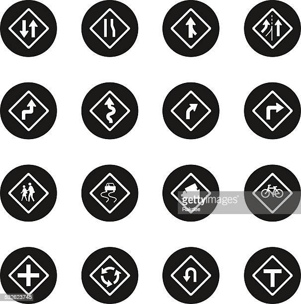 traffic and road sign icons - black circle series - overpass road stock illustrations