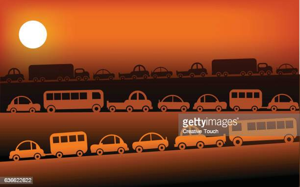 traffic and sunset