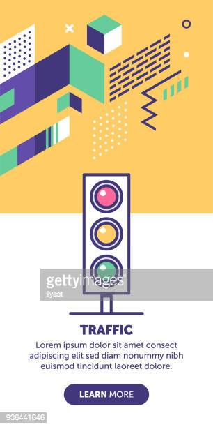 traffic banner - stoplight stock illustrations