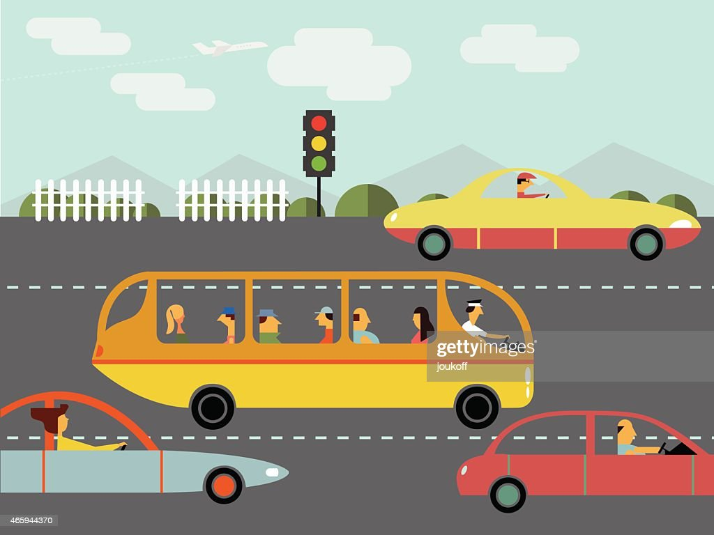 Trafic, Voiture, Silhouette, Bus - Illustration