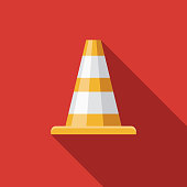 Traffic Cone Flat Design Emergency Services Icon