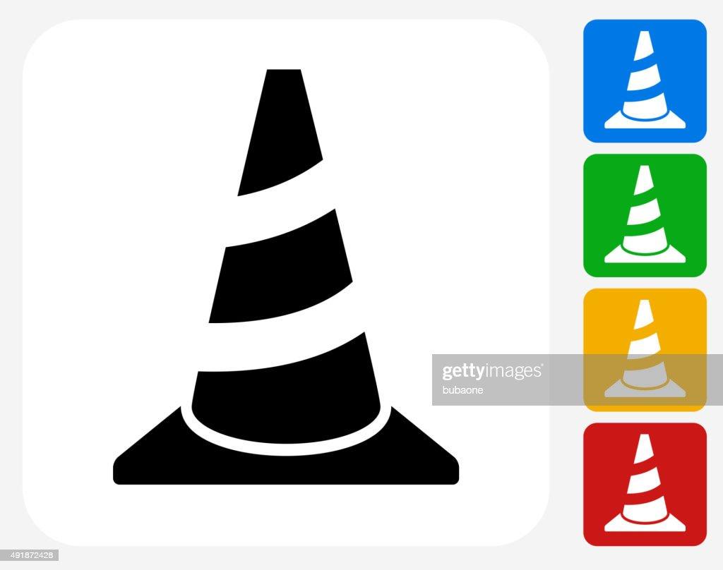 Traffic Cone Icon Flat Graphic Design : stock illustration