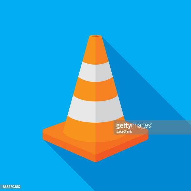 traffic cone icon flat - cone shape stock illustrations
