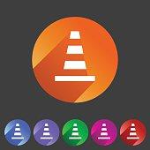 Traffic cone icon flat web sign symbol logo label