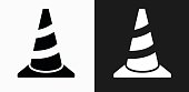 Traffic Cone Icon on Black and White Vector Backgrounds