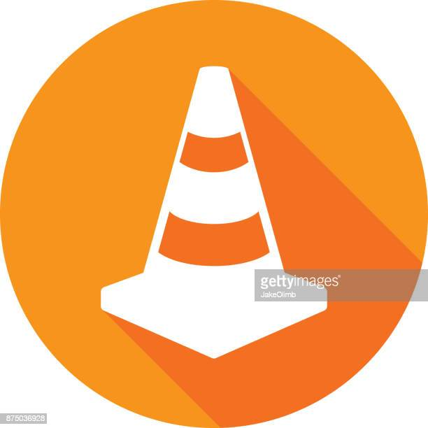 traffic cone icon silhouette 1 - cone shape stock illustrations