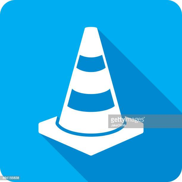 traffic cone icon silhouette 2 - cone shape stock illustrations