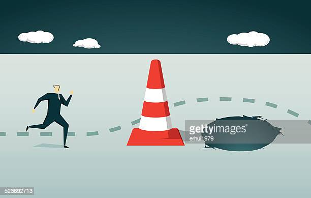 Traffic Cone, Risk, pitfall, Goal, Choice, Decisions, Pit, Trap