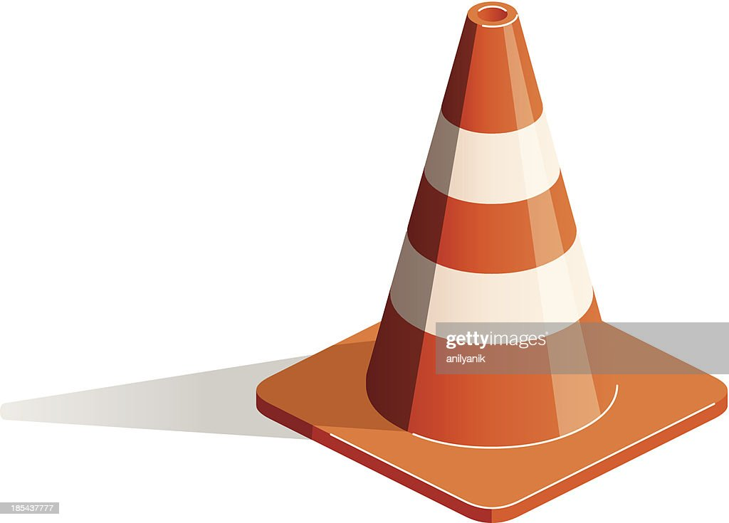 Close-up of 3D illustration of traffic cone on white