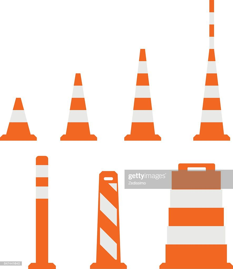 Traffic cones in flat design on white