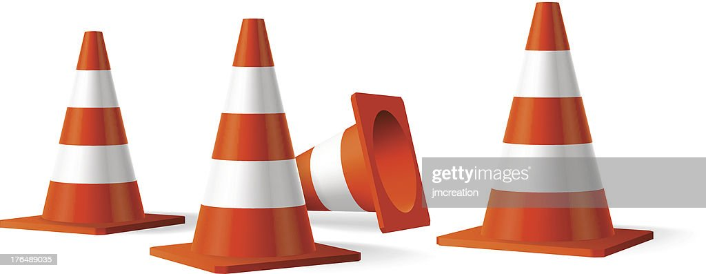 Traffic cones vector isolated object