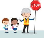 Traffic guard and school kids
